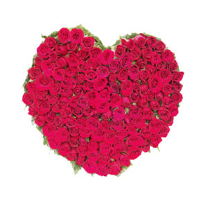 100 rose red rose heart shape basket