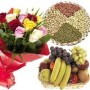12 Mixed Roses, 1 Kg Dry Fruits and 2 Kg Mixed Fruits with Basket