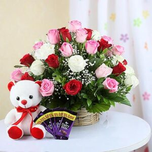 basket-arrangement-of-35-mix-roses-with-teddy-5-dairy-milk-bars