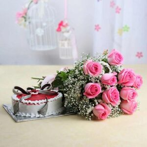 bunch-of-10-pink-roses-with-strawberry-cake