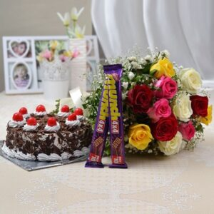 bunch-of-12-mix-roses-with-perk-half-kg-black-forest-cake