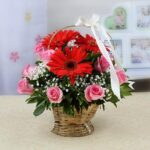 beautiful-basket-of-red-gerberas-pink-roses