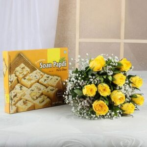 bunch-of-10-yellow-roses-with-500-gm-soan-papdi-box