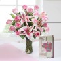 glass-vase-of-13-pink-roses-3-lilies-with-greeting-card-for-mother