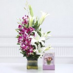 vase-of-5-purple-orchids-3-lilies-with-greeting-card