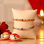 Set of Two Rudraksh Rakhis to Ludhiana