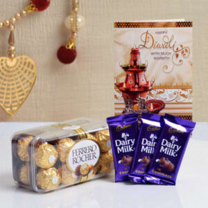 diwali-card-with-cadbury-dairy-milk-chocolate-ferrero-rocher-box