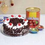 send diwali half kg black forest cake with gulab-jamun-1-kg-
