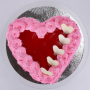 pink roses cake heart shape