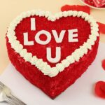 red valvet heart shape cake for valentines day cake