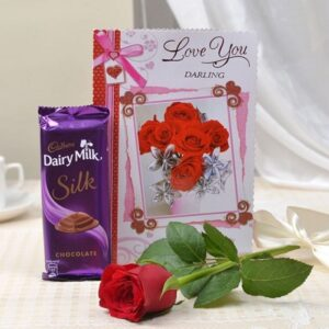 Silk chocolate with card and roses