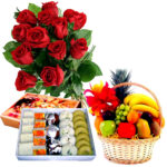 Fruit basket with sweets box