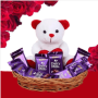 chocolate with teddy in a basket