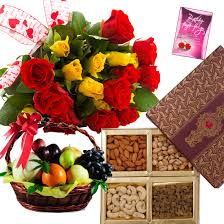 fruit basket with dry fruit and flowers