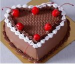 light chocolate heart shapecherry cake