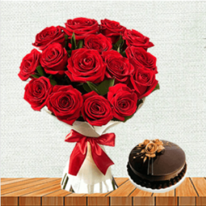 red roses with chocolate cake delivery in punjab