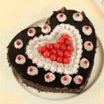 black forest heart shape charry cake