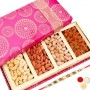 4 Part Dryfruit Box With Pearl Rakhi