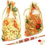 Almonds Net Pouch With Pearl Rakhi
