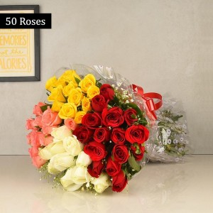 4 Color Roses bunch