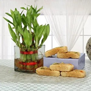 Sweets with lucky bamboo