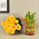 YELLOW ROSES WITH BAMBOO