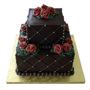 Chocolate 2 tayer roses cake
